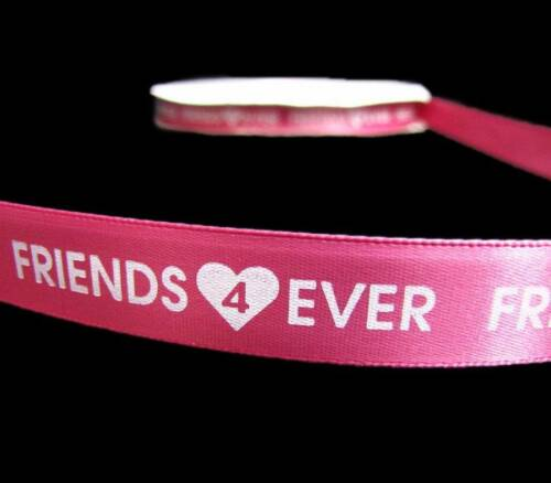 """5 Yards Friends Forever Friends 4 Ever Girl BFF Pink Satin Ribbon 5//8/""""W"""