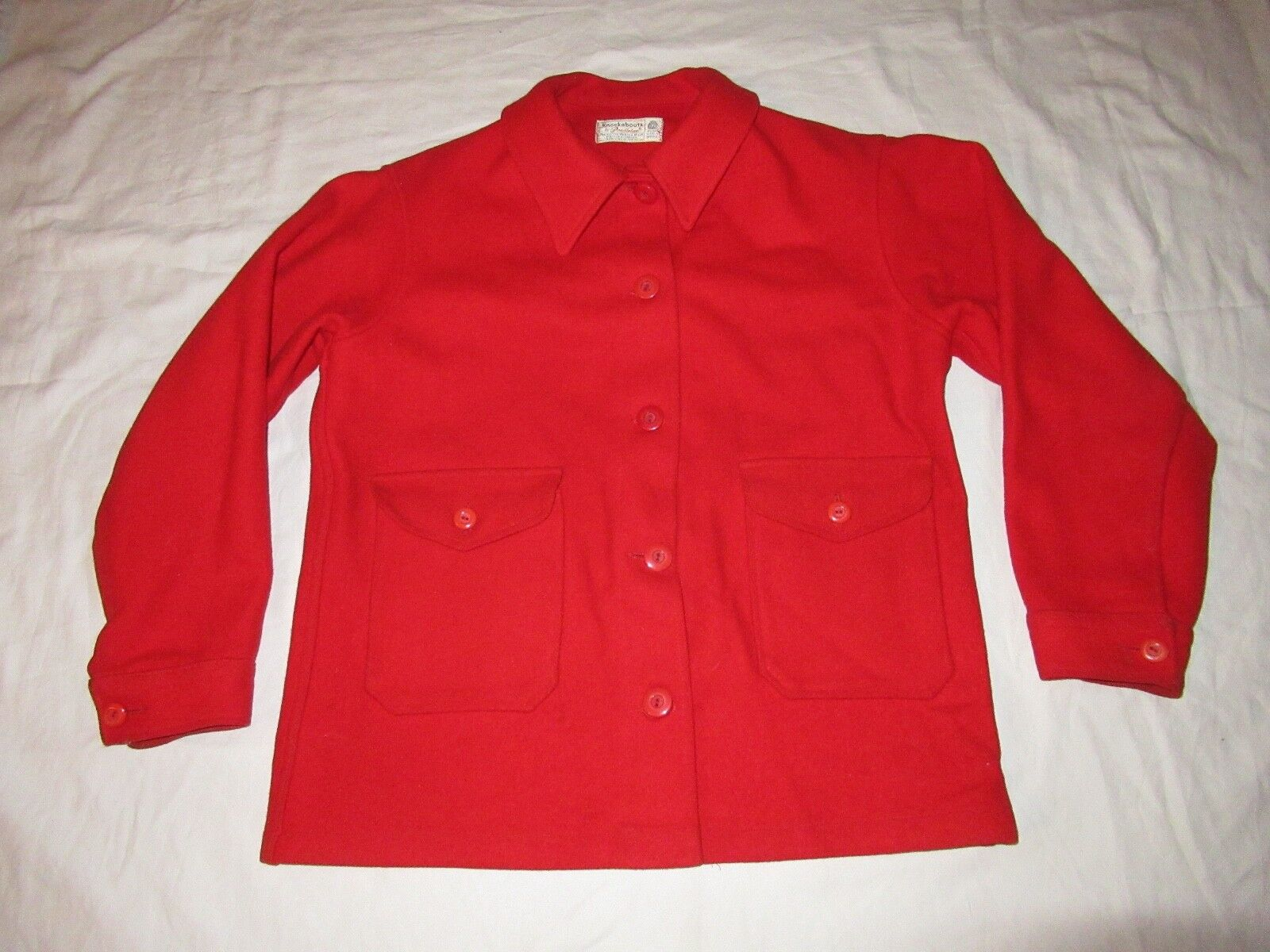 Pendleton Knockabouts Pure Thick Wool Hunting Shirt SOLID rot Größe M USA Made