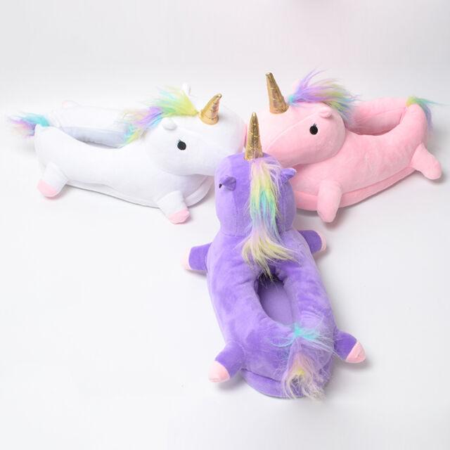 Unicorn Plush Rainbow Licorne Floor Slippers Indoor Slippers Fluffy Shoes Unisex
