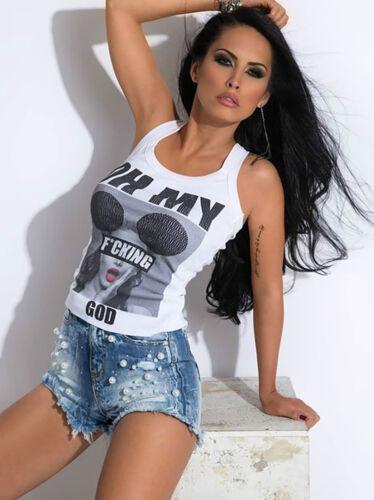 By Alina Donna Jeans Hot Pants Jeans Pantaloni culotte da donna perle JEANS SHORTS BLU XXS-S