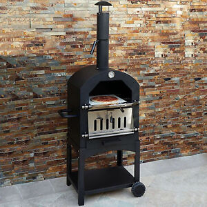 Outdoor Pizza Oven Garden Wood Fired Chimney Charcoal Bbq