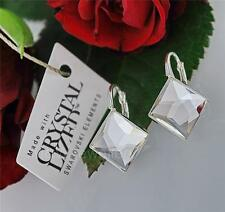 STERLING SILVER EARRINGS WITH SWAROVSKI ELEMENTS  ASYMMETRIC SQUARE CRYSTAL10mm