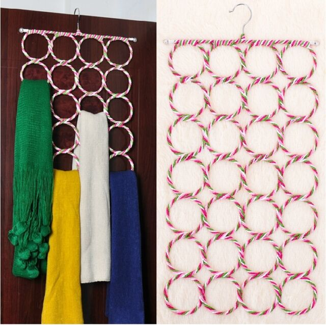 28-hole Ring Rope Slots Wrap Shawl holder Hanger for Scarf tie Retail Display-Z