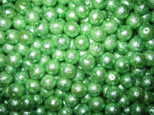 Perles De Verre MIX-Crêpes bruns perles 8 mm Boules Comme neuf Vert 70 pièces