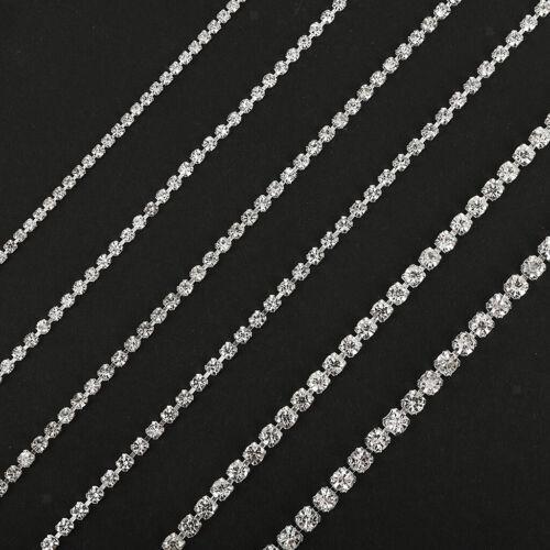 DIY Crystal Chain Silver Diamante Pendant Jewellery Clothing Craft 0.2cm