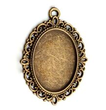 "Cameo Frame Cabochon Setting 1.5"" Steampunk Brass Pendants Lot of 8"