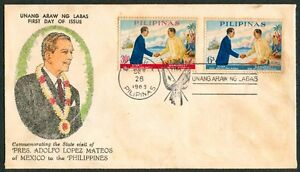 1963-State-Visit-Of-Pres-ADOLFO-LOPEZ-MATEOS-Of-Mexico-to-the-Philippines-FDC