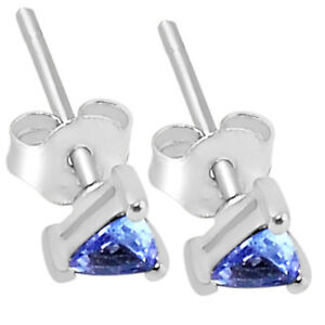 0-9cts-Genuine-Tanzanite-925-Silver-Earrings-Jewelry-TZE1019