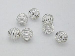 100-Silver-Plated-Spiral-Bead-Cages-8X8mm-Spacer-Beads