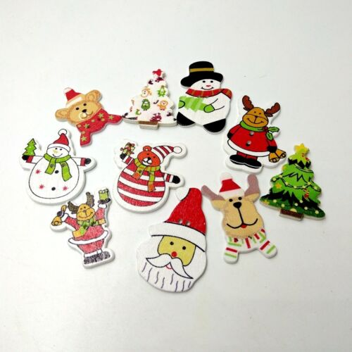 100x dulce Navidad madera botón 2 hoyos scrapbooking mapa hacen DIY