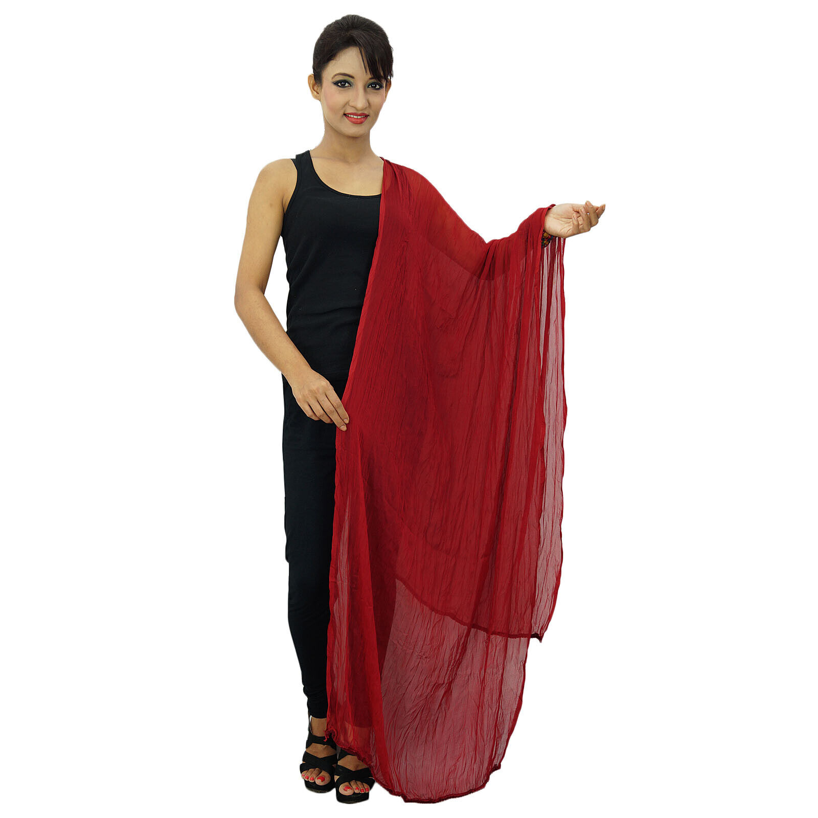 Chiffon Blend Dupatta Neck Wrap Women Wear Long Stole Indian Scarves-bXZ