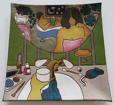 "Rare Judy Miller California Art Pottery Large 11.5"" Plate Romantic Couple 1983"