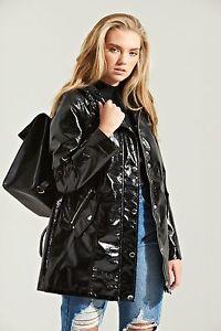 Da Donna ad alta lucentezza nera con cappuccio Cappotto Di Pioggia Taglie 6 8 10 12 14 16  </span>