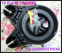 Plate Caddy Set Of 10 Black Holders & 10 Colored Snack Pics