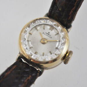 alte-Blumus-Armbanduhr-Damenuhr-14K-585-Gold-Vintage-Clock-Handaufzug