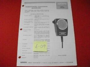 VINTAGE 1978 ASTATIC D104-M6B TRANSISTORIZED MICROPHONE SPEC & INSTRUCTION SHEET