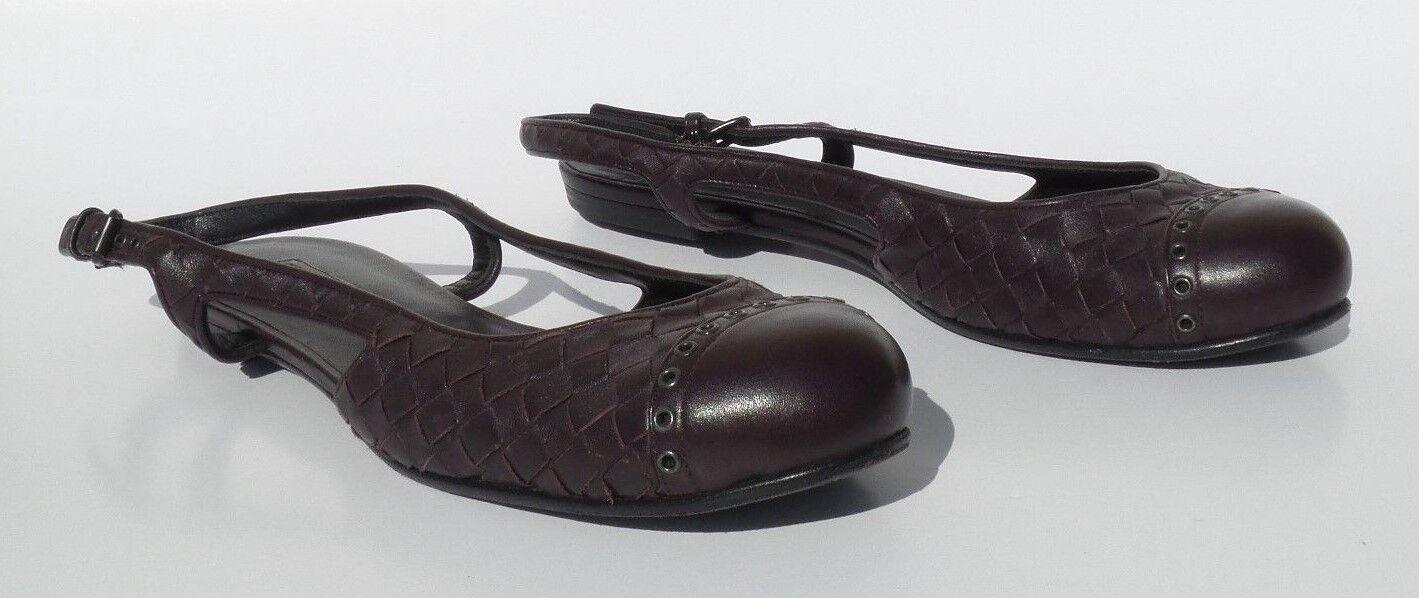 BOTTEGA VENETA Eggplant Plum Purple Woven Leather Eyelet Slingback Slingback Slingback Flats 39.5 GC 0ebab0