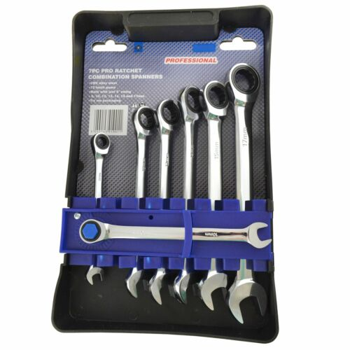 7PC Pro Ratchet Spanners Wrench Combination Metric Ring Open End CRV TE361