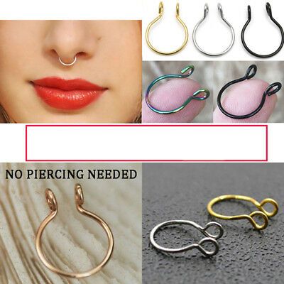 Women Men Stainless Steel Fake Septum Non Piercing Nose Ring Clip On Hoop Gift