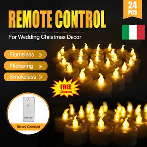 24pz-Candele-Tremolante-Candela-TEALIGHT-a-Led-Luce-Oscillante-Con-Telecomando