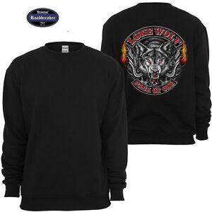 Sweatshirt-schwarz-HD-Chopper-Biker-amp-Old-Schoolmotiv-Modell-Lone-Wolf