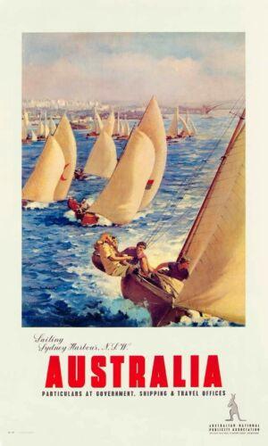 1940s Sailing Sydney Harbour Australia travel poster cheap art prints
