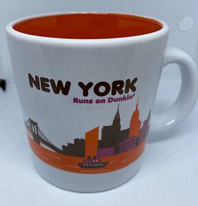 DD Dunkin' Donuts New York Runs on Dunkin 2013 Orange Lined Ceramic 14 Oz Mug