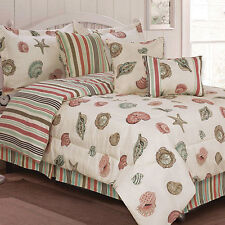 Seashells, Beach, Coral, Nautical Full Comforter Set (7 Piece Bed In A Bag)