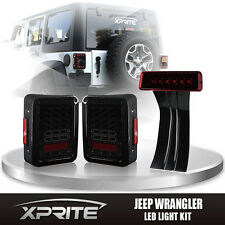 Smoke LED Rear Taillight 3rd Third Red Brake Light Combo For 07-17 Jeep Wrangler