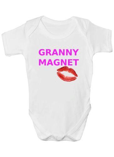"/""Granny Magnet/"" Babygrow Vest Boy Girl Gift Present Funny Baby Bodysuit"