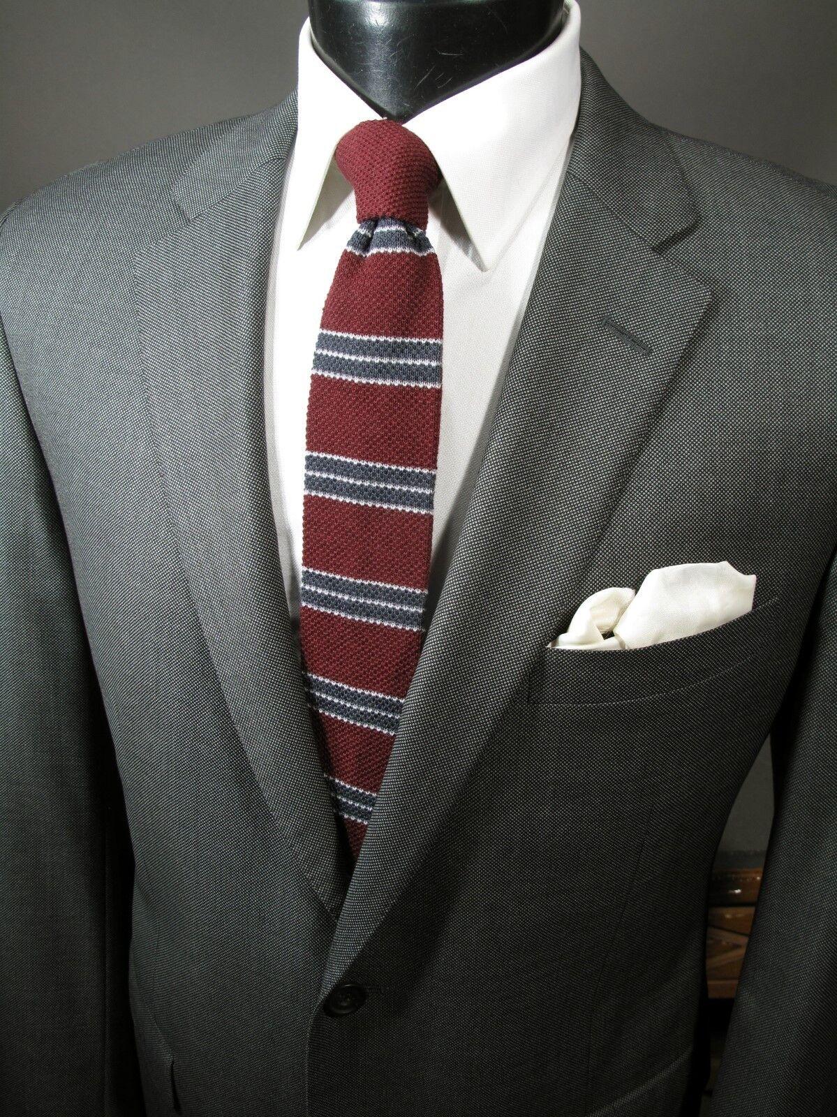 Samuelsohn Suit Blazer Sport Coat 44R grau Nailhead 2 Btn 150s Wool Medium Wgt