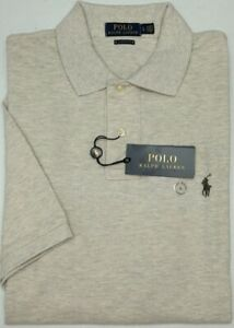 NEW-85-Polo-Ralph-Lauren-Light-Tan-Heather-Short-Sleeve-Shirt-Mens-Classic-Mesh