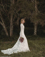 2017 New Elegant Lace Bohemian Long Sleeve Wedding Dress A-Line Custom:6 -16