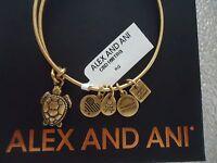 Alex And Ani Sea Turtle Rafaelian Gold Finish Bangle W/tag Card & Box