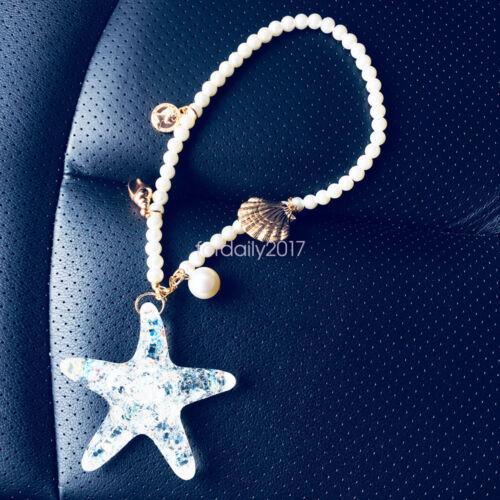 Estrella De Mar Perlas de Plástico Decoración para Colgar en Espejo Retrovisor Coche Colgante Accesorio