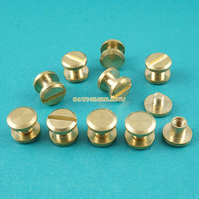 50 Set 8*9mm Solid Brass Rivet Chicago Screw for Leather Craft Cambered