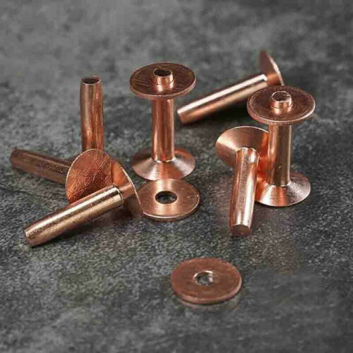 10pcs Solid Copper Rivets Burrs Fasteners Permanent Leather Saddlery Tack Repair
