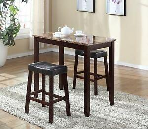Marble 3pc Breakfast Table Counter Height Bar Stools Kitchen Chairs