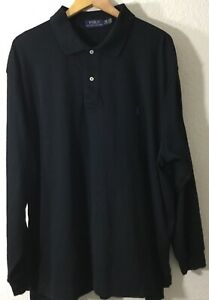 Polo-Ralph-Lauren-Men-039-s-2XB-Big-Polo-Long-Sleeve-Shirt-Black-Sz-100-Cotton-NWOT