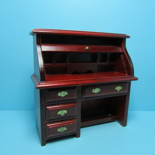 Study Roll Top Desk in Mahogany ~ T3597 Dollhouse Miniature Office