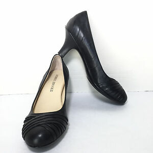 women's audrey brooke black leather round toe kitten high