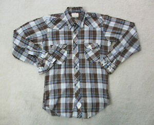 Wrangler-Button-Up-Shirt-Adult-Large-Brown-Blue-Pearl-Snap-Western-Cowboy-Men-A0