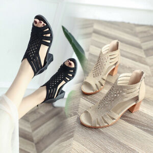 Women-Solid-Crystal-Hollow-Out-Peep-Toe-Wedges-Sandals-Zipper-High-Heeled-Shoes