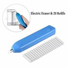 Arpan Blue Electric Battery Operated Pencil Eraser Rubber Pen +20 Refills AC9562
