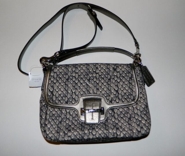 17ec40d04b99 Authentic Coach Taylor Snake Print Flap Crossbody Bag Purse F26036 Gunmetal