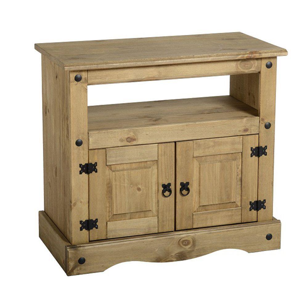 Meuble En Pin Ciré détails sur corona bouleversé ciré solide bois pin tv armoire avec 2 porte  mexicain meuble
