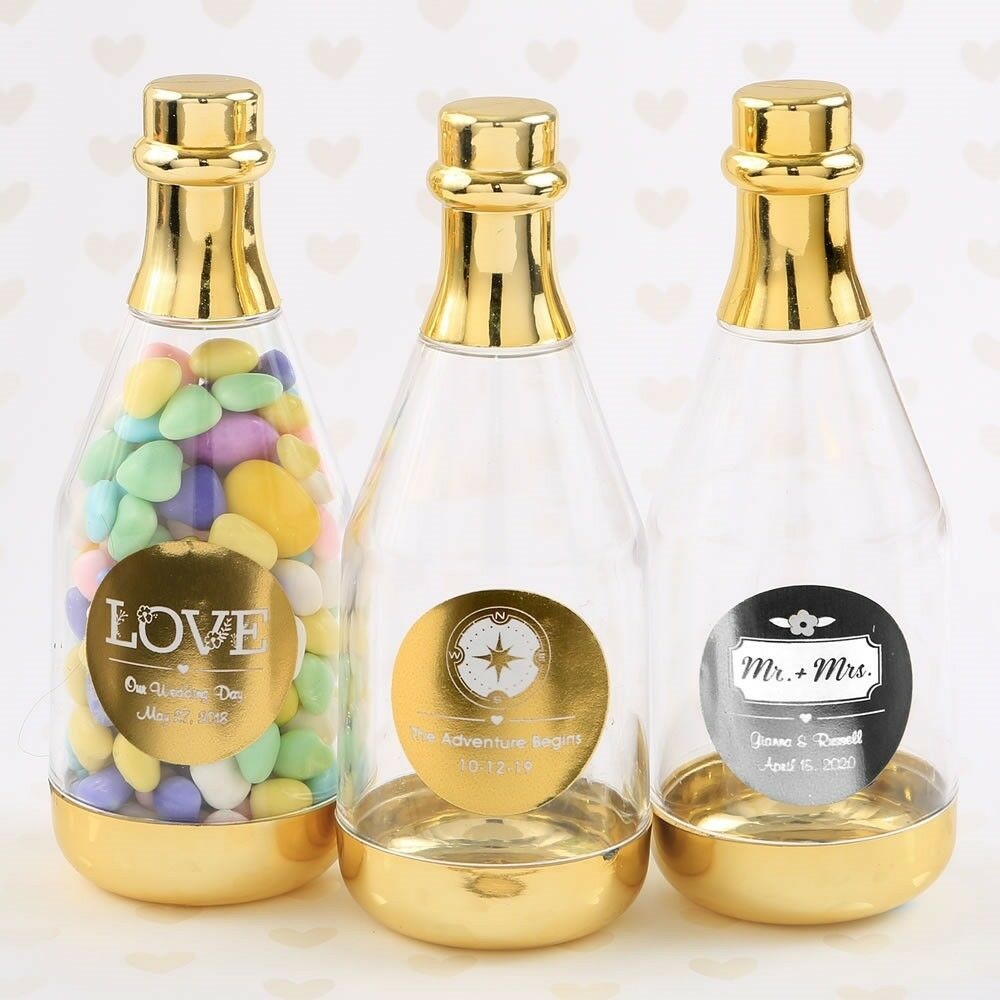 60 Personalized Gold Candy Box Champagne Bottle Wedding Bridal Party Favors