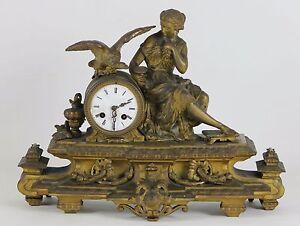 DESKTOP-CLOCK-NAPOLEON-III-STYLE-GOLDEN-METAL-FRANCE-XIX-CENTURY