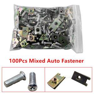 100x New Auto Fasteners Car Body Door Panel Trim Fixed Screw U Type Gasket Clips