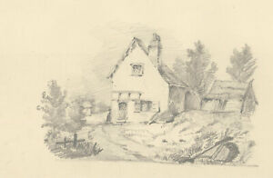 Late 19th Century Graphite Drawing - A Rural Cottage